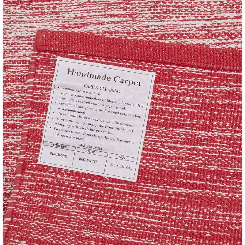 Tapis design rectangulaire (230 cm X 160 cm) BASILE en coton (rouge) - image 38550