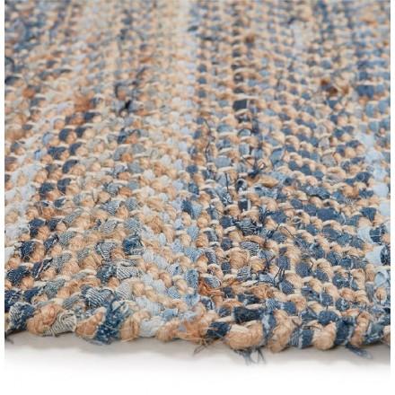 Tapis design rectangulaire (230 cm X 160 cm) BELINDA en jeans et chanvre  (bleu, marron) - AMP Story 5659