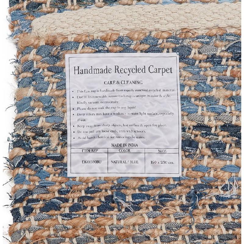 Tapis design rectangulaire (230 cm X 160 cm) BELINDA en jeans et chanvre (bleu, marron) - image 38572