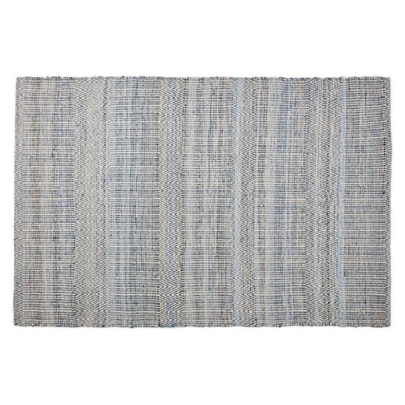 Tapis design rectangulaire (230 cm X 160 cm) BALBINE en jeans et laine (bleu, beige) - image 38573