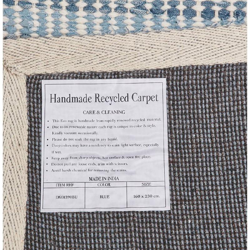 Tapis design rectangulaire (230 cm X 160 cm) BALBINE en jeans et laine (bleu, beige) - image 38584