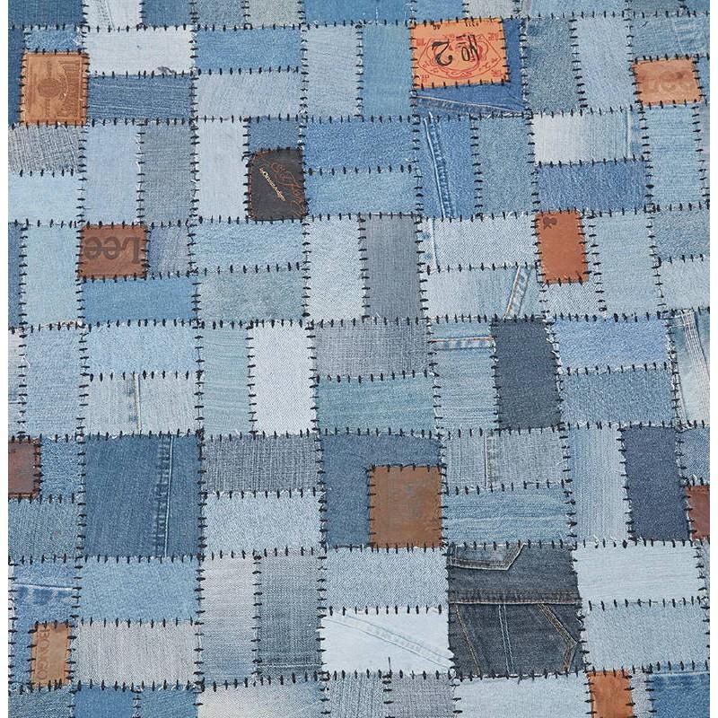 Tapis fun rectangulaire (230 cm X 160 cm) GABIE en jeans (bleu) - image 38613