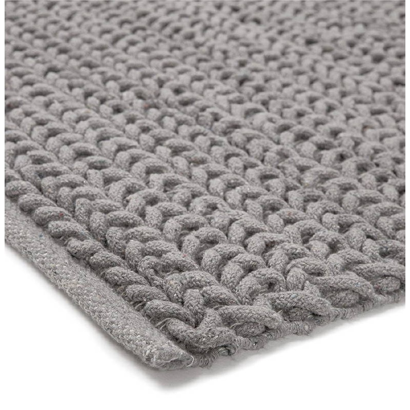 Carpet Design Rectangular 230 Cm X 160 Cm Knit Gray Cotton