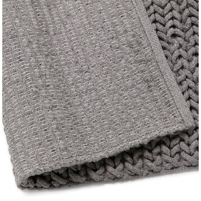 Tapis design rectangulaire (230 cm X 160 cm) TRICOT en coton (gris) - image 38625