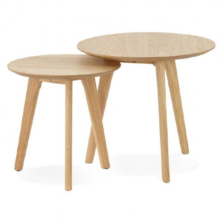 Pull-out tables ART in wood and oak (natural)
