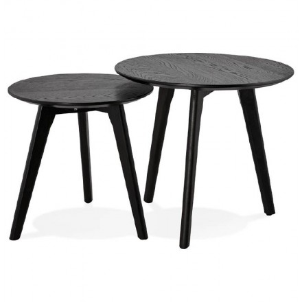 Pull-out tables ART in wood and oak (black)