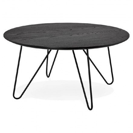 Design coffee table style industrial FRIDA in wood and metal (black)