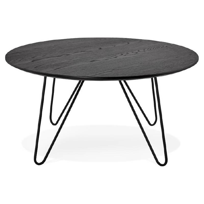 Table basse design style industriel FRIDA en bois et métal (noir) - image 38685
