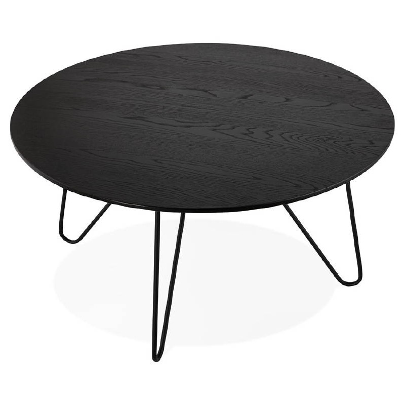 Design Coffee Table Style Industrial Frida In Wood And Metal Black