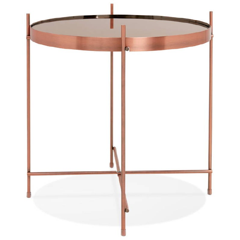 Folding Side Table End Table Zoe In Glass And Metal Copper Coffee Tables