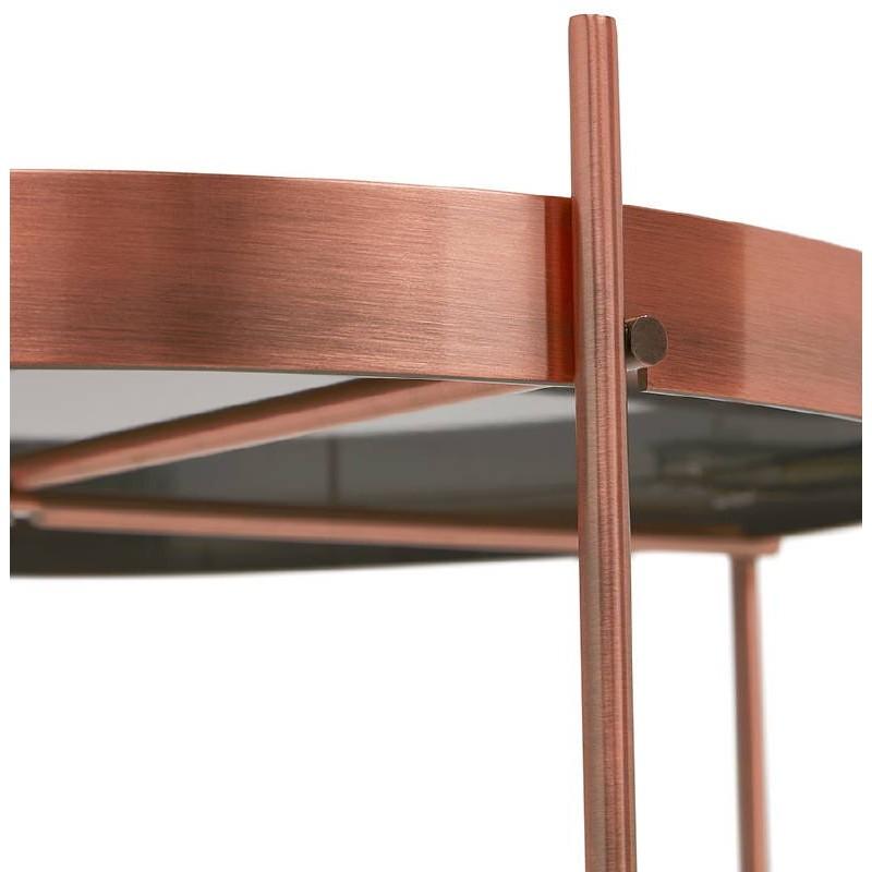 Table d'appoint pliable, bout de canapé ZOE en verre et métal (cuivre) - image 38698