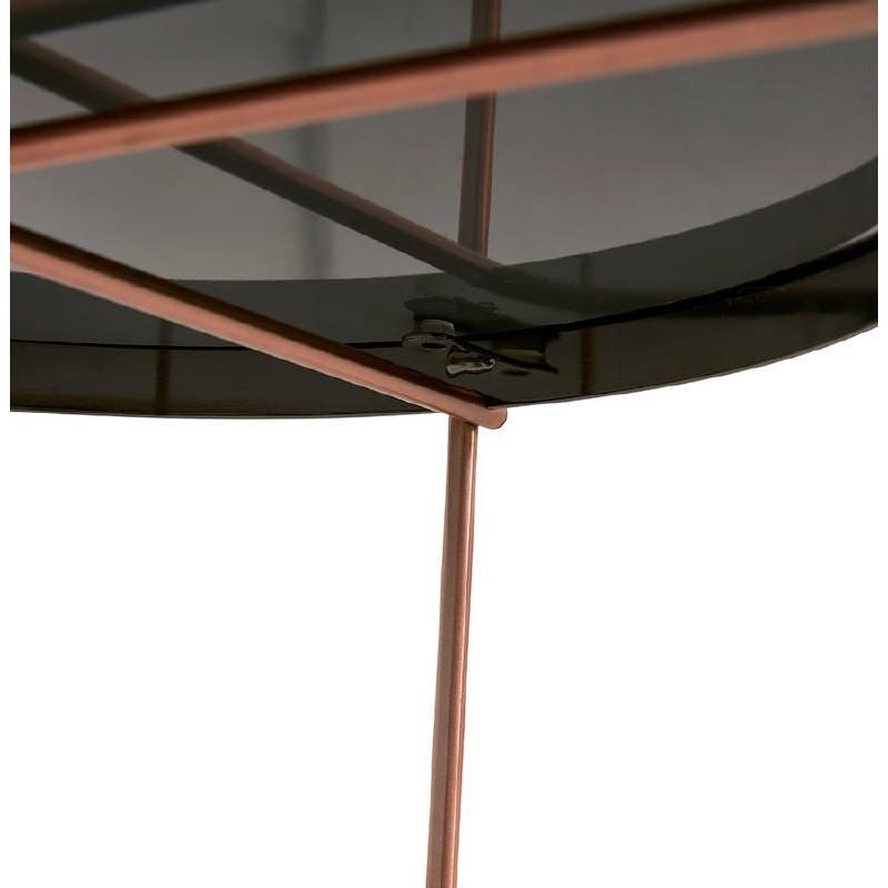 Table d'appoint pliable, bout de canapé ZOE en verre et métal (cuivre) - image 38699