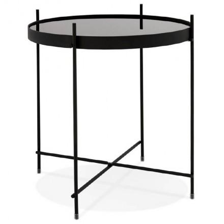 Table d'appoint pliable, bout de canapé ZOE en verre et métal (noir)