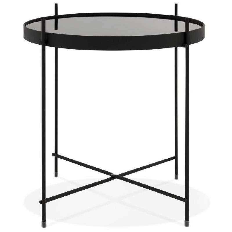 Klappbarer Beistelltisch Beistelltisch Zoe In Glas Und Metall Schwarz
