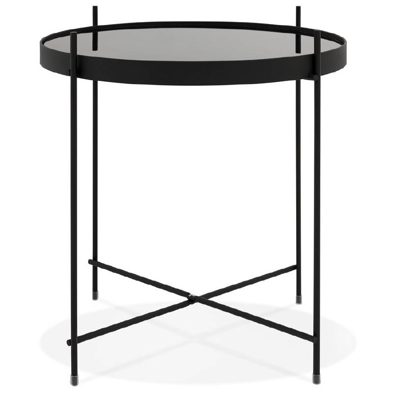 Table d'appoint pliable, bout de canapé ZOE en verre et métal (noir) - image 38705