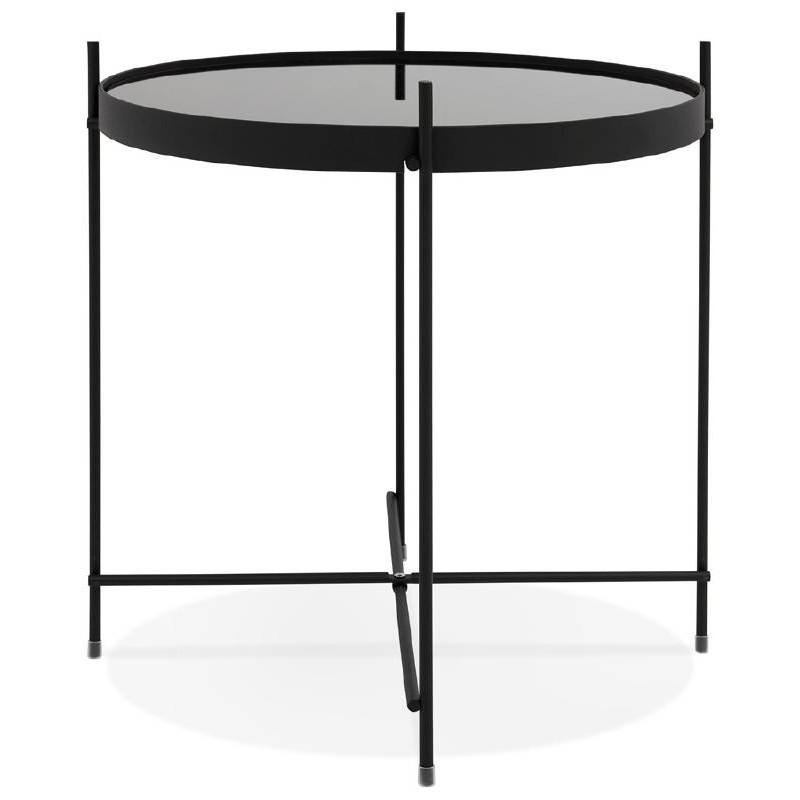 Table d'appoint pliable, bout de canapé ZOE en verre et métal (noir) - image 38706