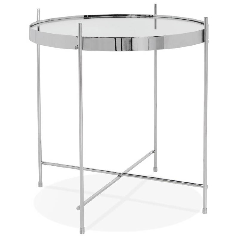 table d 39 appoint pliable bout de canap zoe en verre et m tal chrome. Black Bedroom Furniture Sets. Home Design Ideas