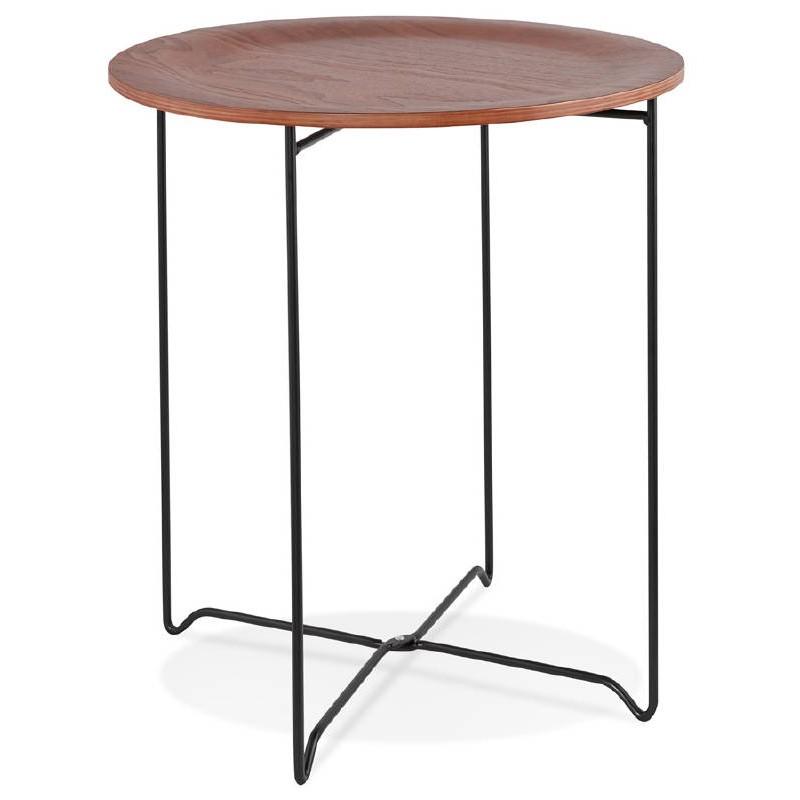 Table d'appoint, bout de canapé industriel ZACK (noyer)