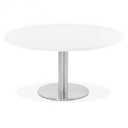 Tavolino design YAEL in metallo spazzolato e legno (bianco)