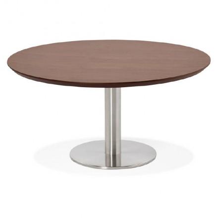 Tavolino design WILLY in legno e metallo spazzolato (noce)
