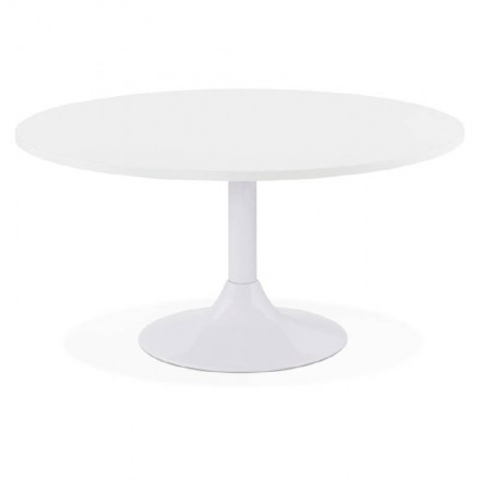Coffee table design VICTORIA wood and painted metal (white)