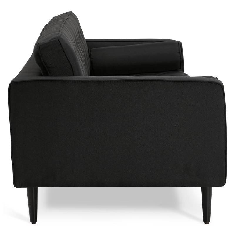 Canapé design et rétro capitonné 3 places SOPHIE en tissu (noir) - image 38868