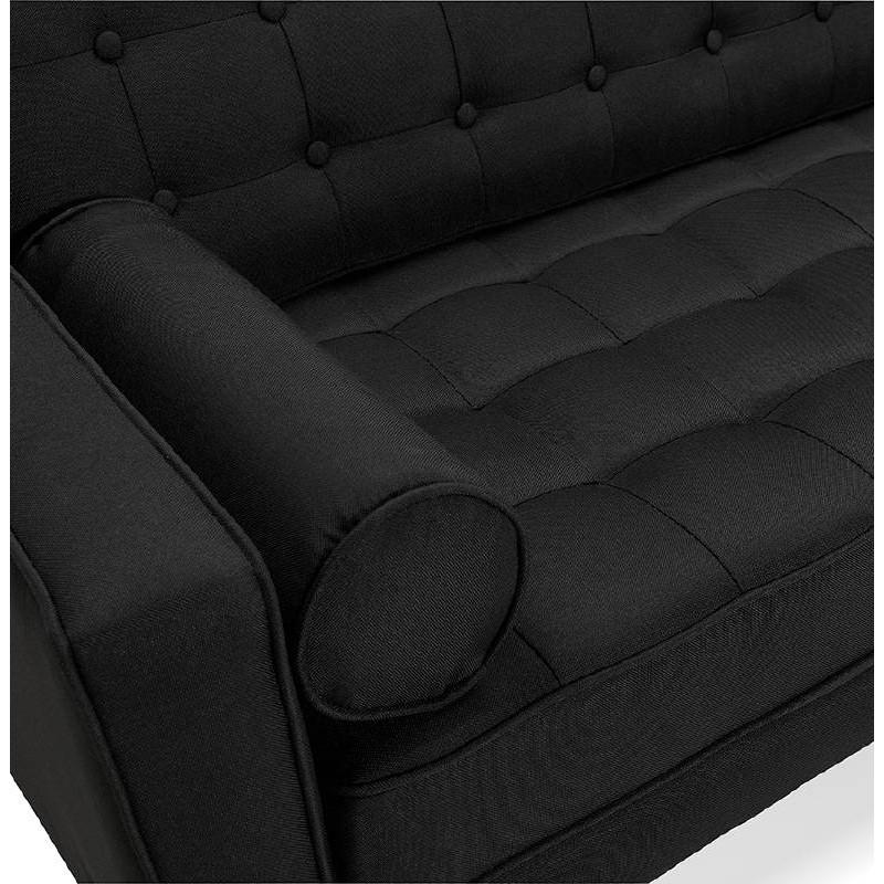 Canapé design et rétro capitonné 3 places SOPHIE en tissu (noir) - image 38874