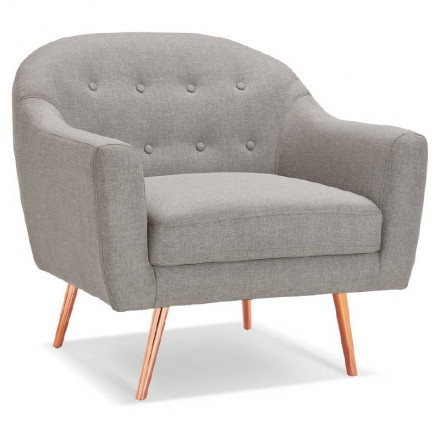 LUCIA padded Scandinavian armchair in fabric (grey)