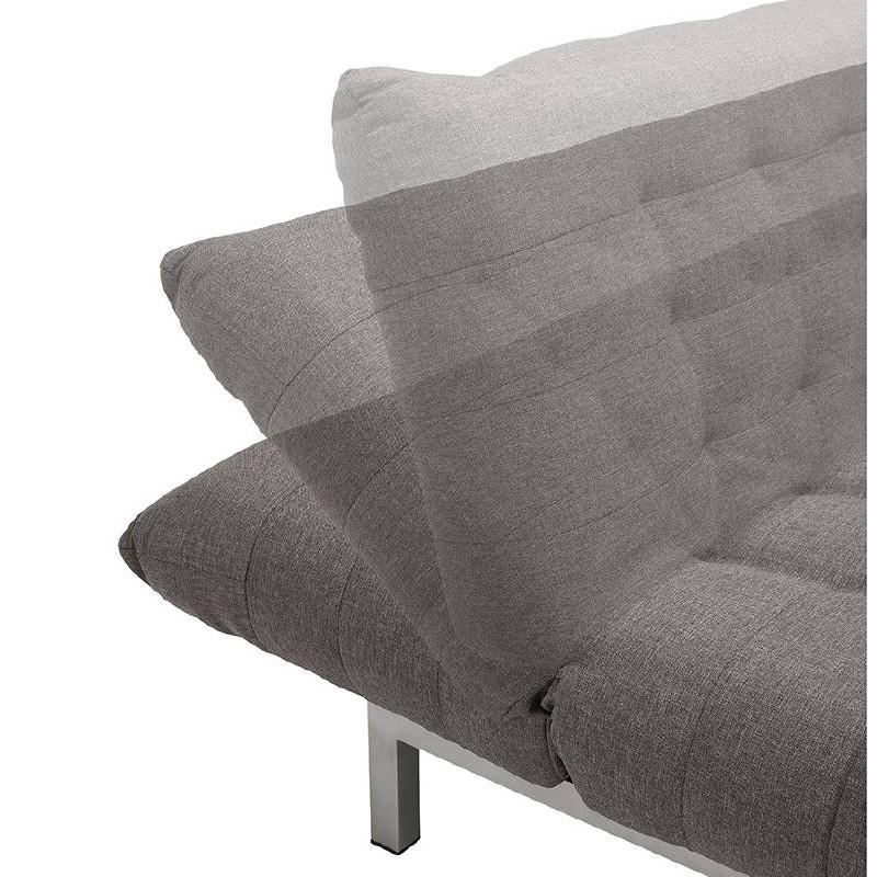 Canapé convertible design capitonné 2 places RACHEL en tissu (gris foncé) - image 38904