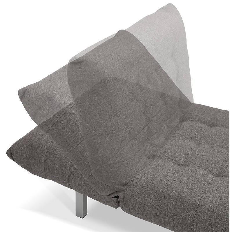 Méridienne convertible design capitonnée RACHEL en tissu (gris foncé) - image 38915