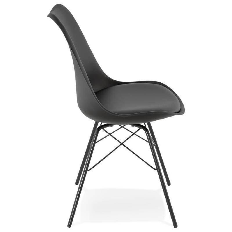 chaise design style industriel sandro noir. Black Bedroom Furniture Sets. Home Design Ideas