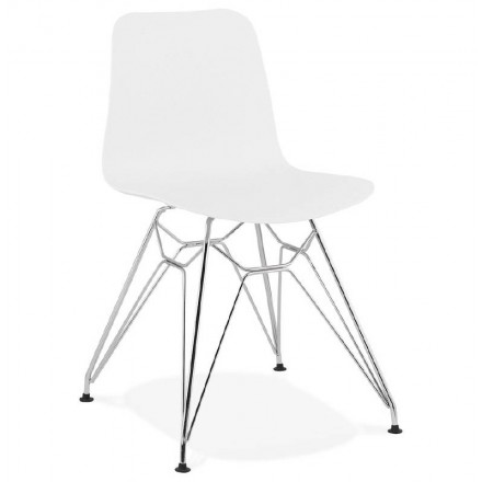 Design and industrial chair from polypropylene feet chrome metal (white)