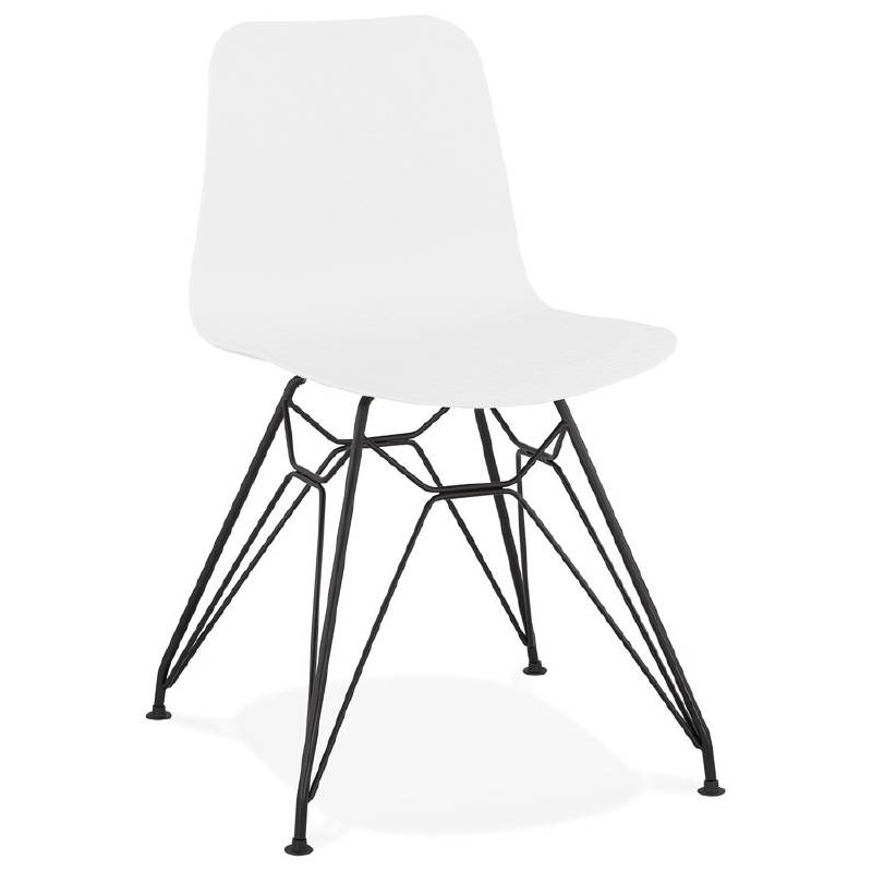 design and industrial chair in polypropylene feet black metal white - Chaise Design Metal