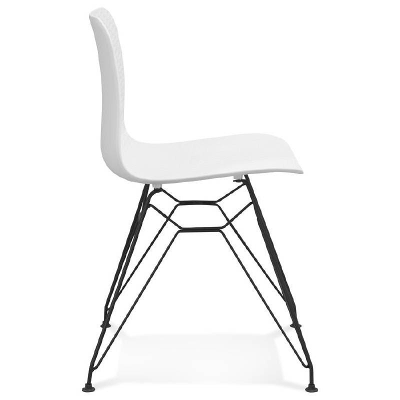 Chaise design et industrielle VENUS en polypropylène pieds métal noir (blanc) - image 39041