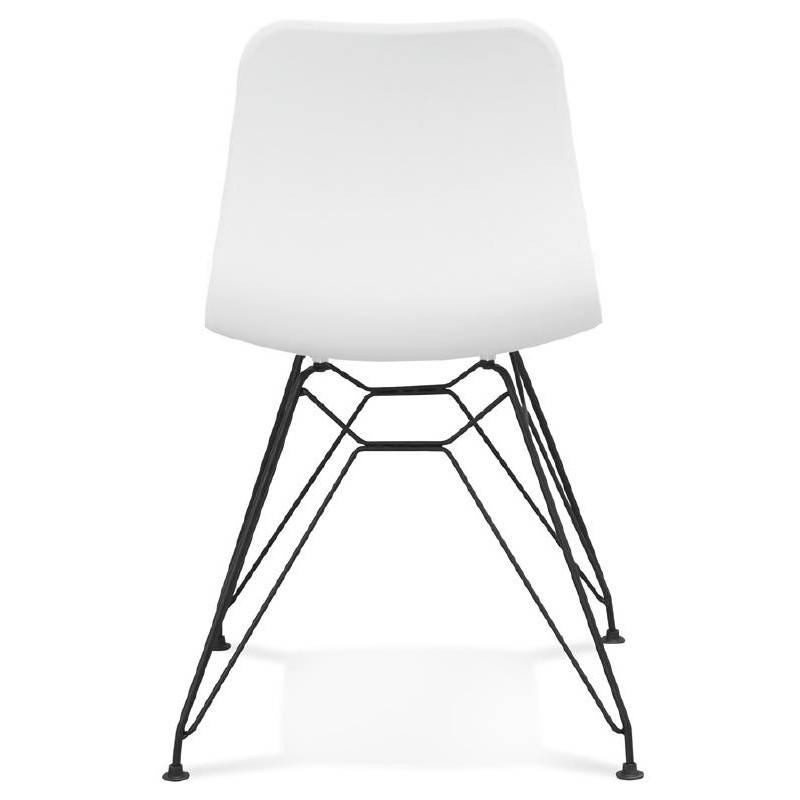 Chaise design et industrielle VENUS en polypropylène pieds métal noir (blanc) - image 39042