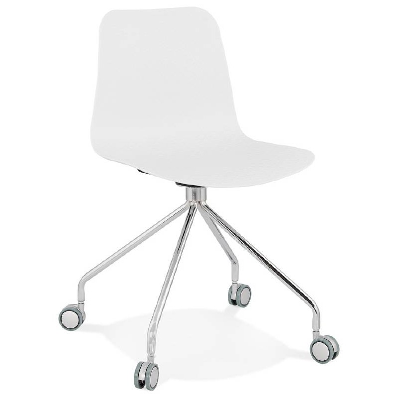Chaise de bureau sur roulettes JANICE en polypropylène pieds métal chromé (blanc) - image 39049