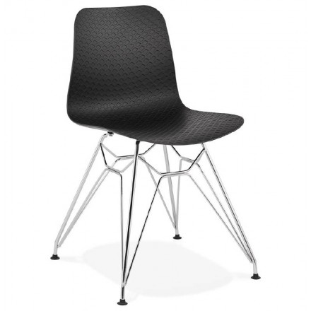 Design and industrial Chair in polypropylene (black) chrome metal legs
