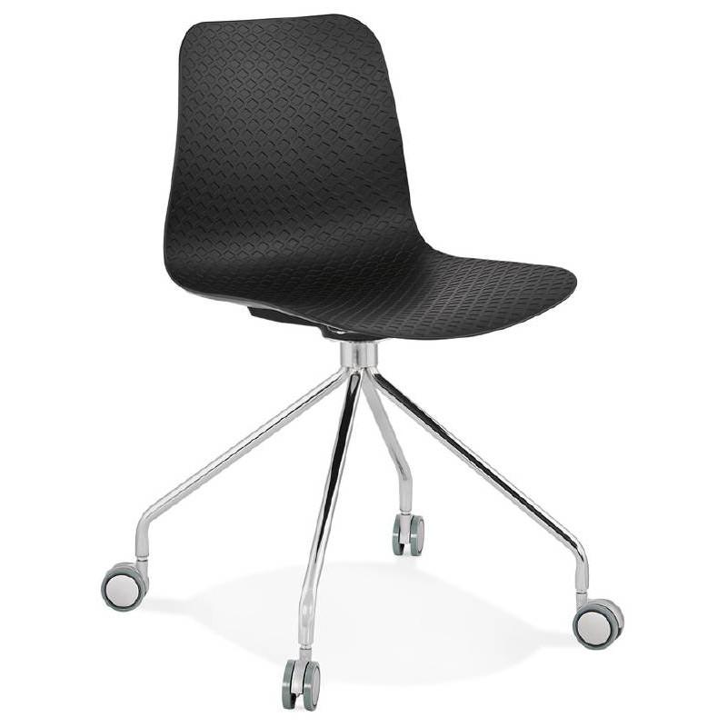 Chaise De Bureau Sur Roulettes JANICE En Polypropylene Pieds Metal Chrome Noir