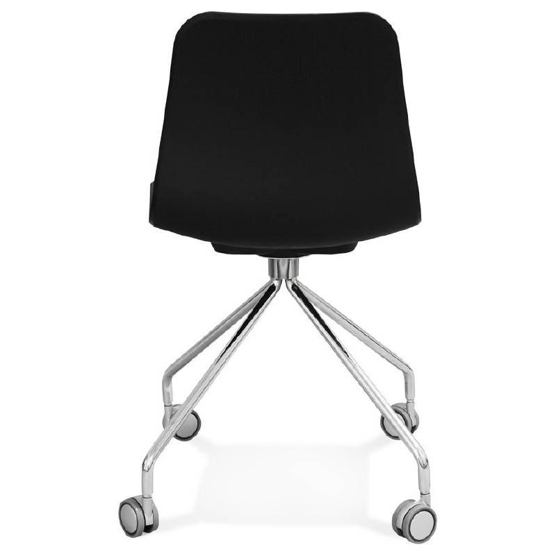 Chaise de bureau sur roulettes JANICE en polypropylène pieds métal chromé (noir) - image 39095
