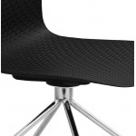 Chaise de bureau sur roulettes JANICE en polypropylène pieds métal chromé (noir)