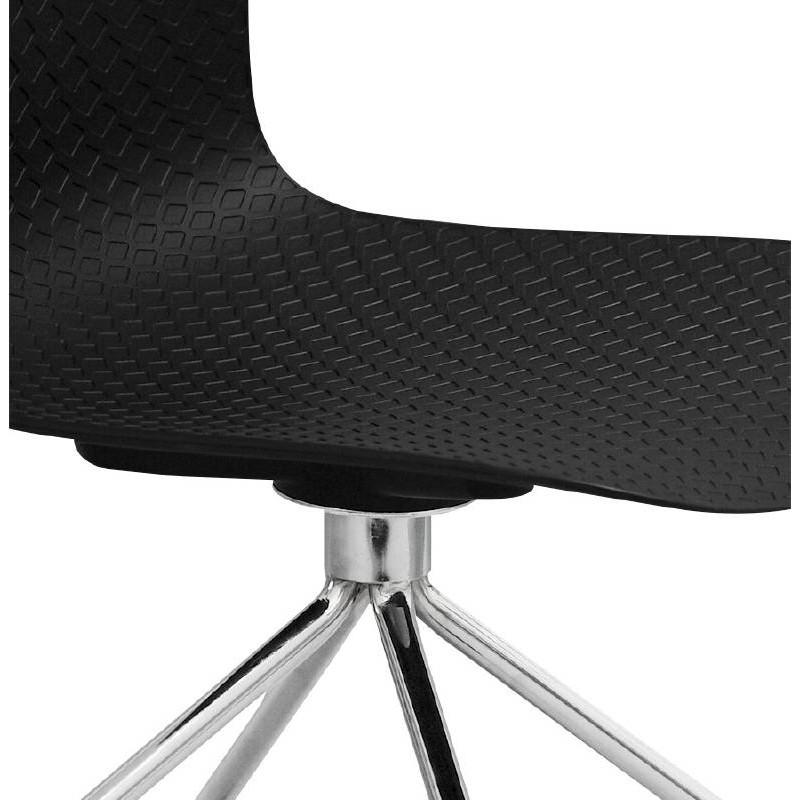 Chaise de bureau sur roulettes JANICE en polypropylène pieds métal chromé (noir) - image 39097