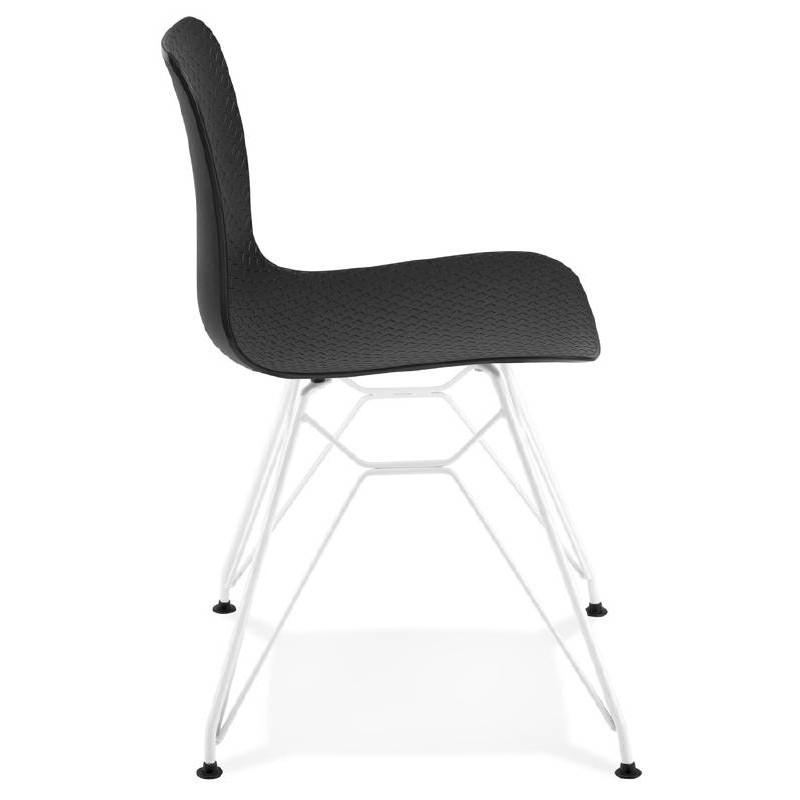 Chaise design et moderne VENUS en polypropylène pieds métal blanc (noir) - image 39110