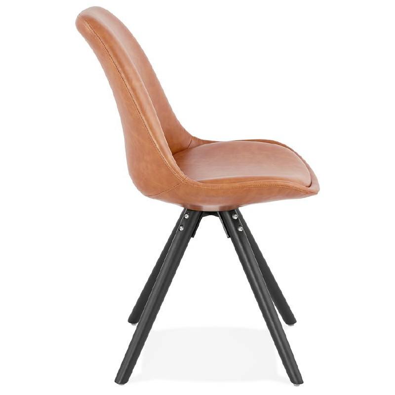 Sedia design e ASHLEY industriale nero piedi (marrone chiaro) - image 39160