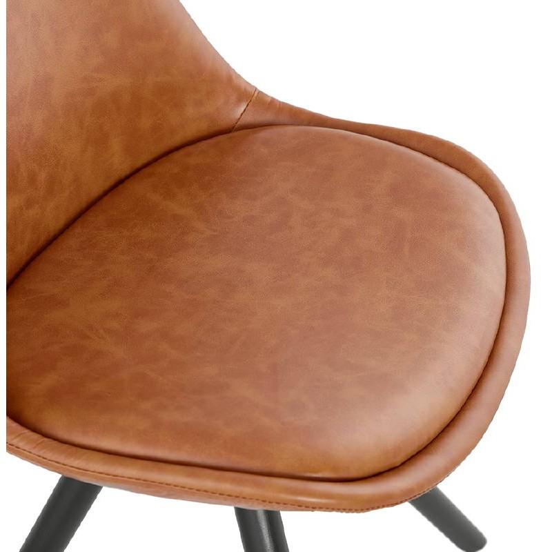 Sedia design e ASHLEY industriale nero piedi (marrone chiaro) - image 39163