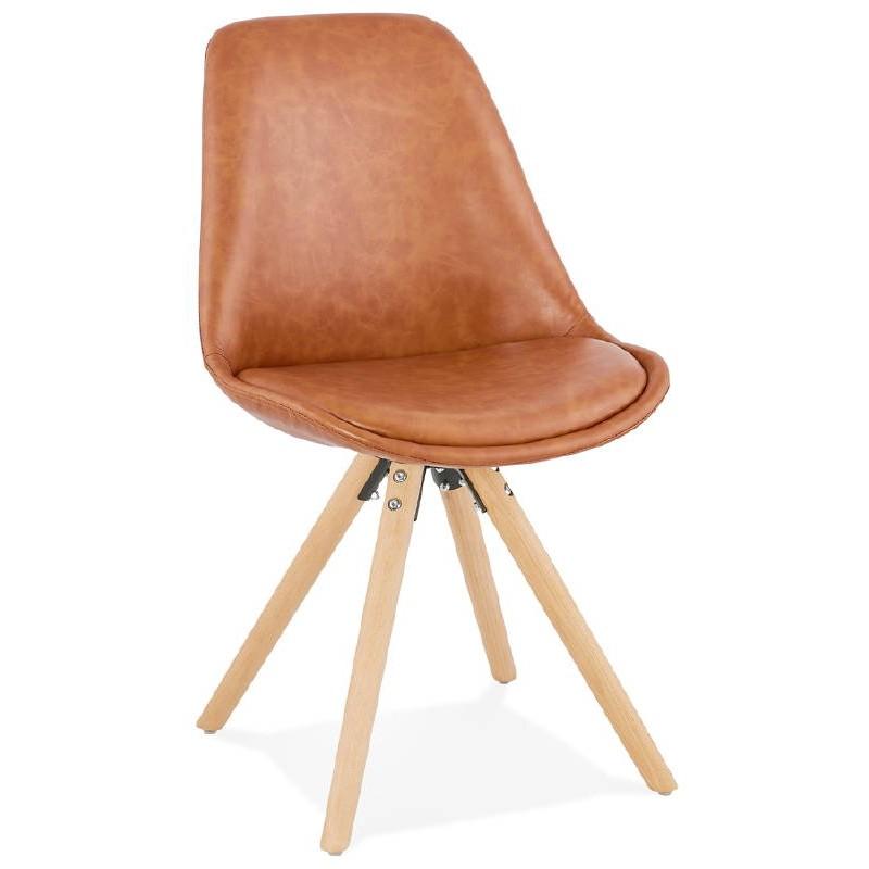 Chaise design ASHLEY pieds couleur naturelle (marron) - image 39174