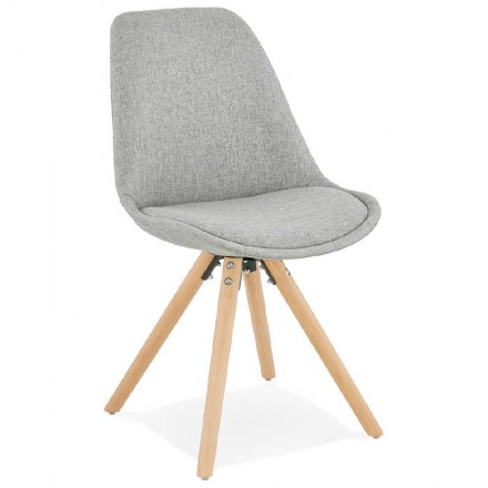 Scandinavian Design Chair Ashley Fabric Feet Natural Color Light Grey