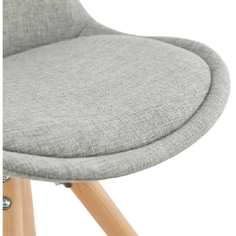 Chaise Design Scandinave ASHLEY En Tissu Pieds Couleur Naturelle Gris Clair