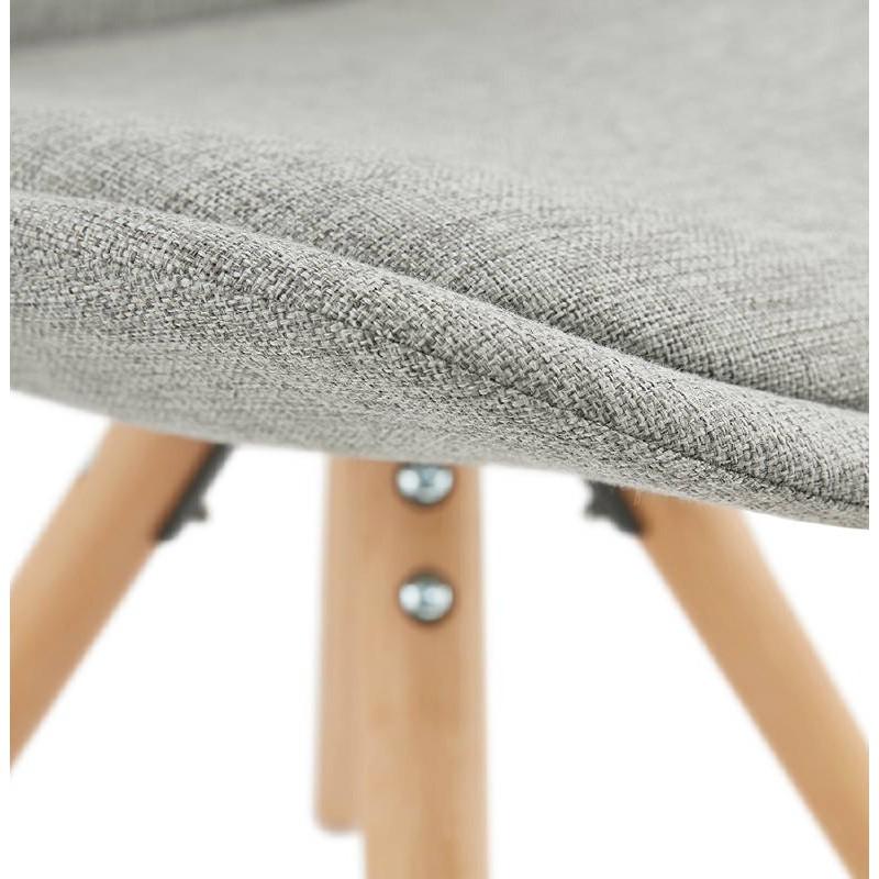 Sedia design scandinavo piedi colore naturale (grigio chiaro) del tessuto di ASHLEY - image 39205
