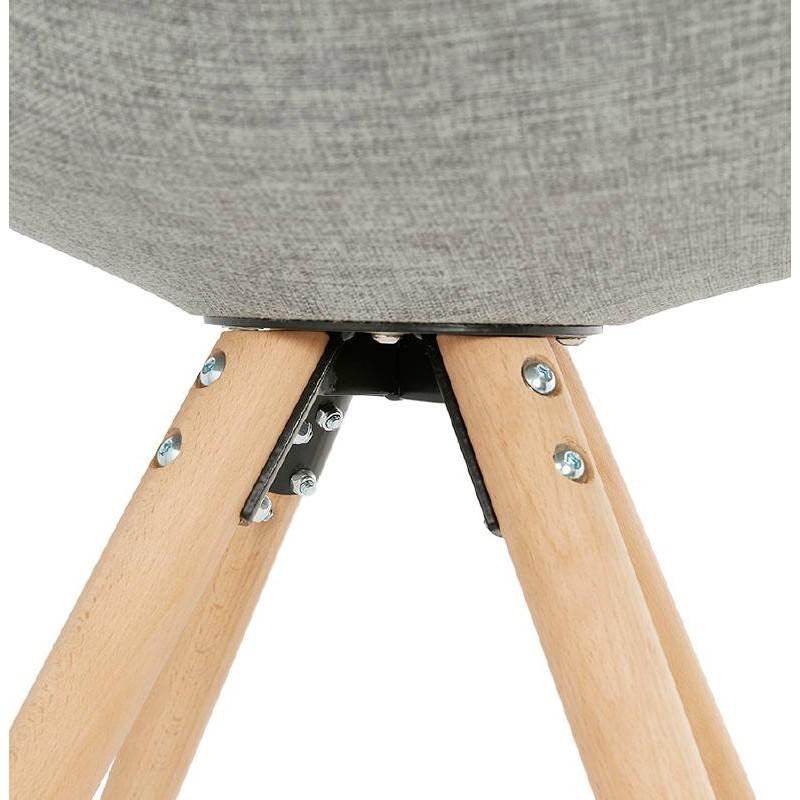 Sedia design scandinavo piedi colore naturale (grigio chiaro) del tessuto di ASHLEY - image 39207