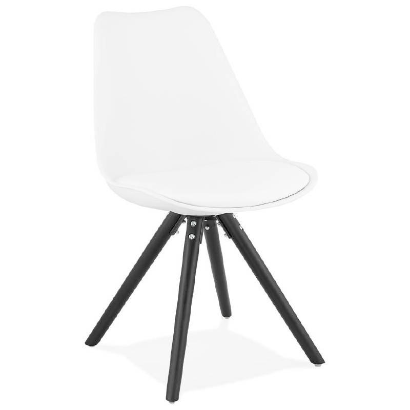 Sedia design ASHLEY (bianco) piedi nero